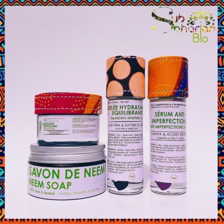 "GAMME PEAU GRASSE A IMPERFECTIONS ""Savon de Neem + Gelee + Serum Anti Imperfections + Masque Exfoliant"""