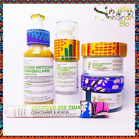 "GAMME ANTI AGE MIXTE ""Mousse + contour + creme matifiante + serum vitamine C + peeling"""