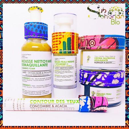 "GAMME ANTI AGE SECHE ""Mousse + contour + creme nutritive + serum vitamine C + peeling"""
