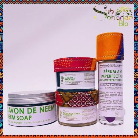 "GAMME PEAU MIXTE A IMPERFECTIONS ""Savon de neem + Creme Matifiante + Serum Anti Imperfections + Masque Exfoliant"""